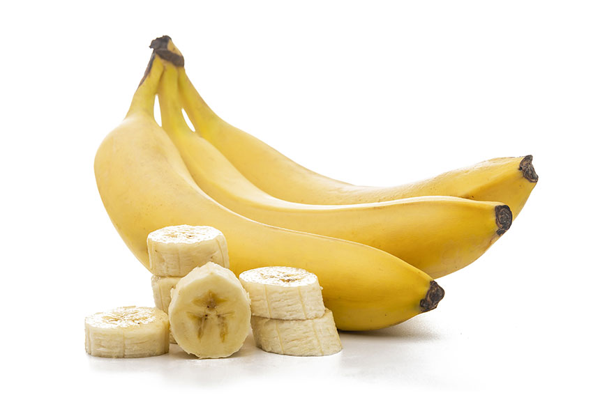 Bunch of bananas and slices
