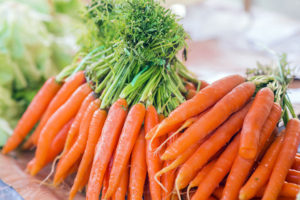 Bunch of whole raw carrots